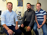 Christoph Klewe, Timo Kuschel, and Daniel Meier (from left to right) are carrying out pure basic research on spin caloritronics. Photo: Bielefeld University