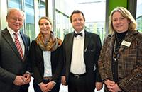 Symposium Klinische Linguistik zur 20- bzw 25-jährige Kooperation mit Kliniken der Region: Prof. Dr. Peter Clarenbach (ev. KB), OA Dr. Nicole Marschner-Preuth (ev. KB), Dr. Dr. Erwin Wehking (Klink am Rosengarten Bad Oeynhausen) und Prof. Dr. Martina Hielscher (Klinische Linguistik, Universität Bielefeld, v.l.)
