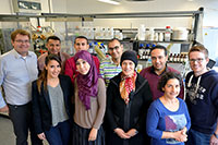 Working together at Bielefeld University in the search for new natural substances with intriguing biological activities. Back row from left to right: Prof. Dr. Norbert Sewald, Prof. Dr. Mohamed Shaaban, Essam Eliwa, Dr. Ahmed Shokri, Abdelaaty Hamed, Marcel Frese. Front row from left to right: Khaoula Riahi, Ibtissem Mahmoudi, Dr. Imène Zendah El Euch, Carmela Michalek. Photo: Bielefeld University