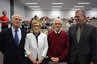Ehrendoktorwürde: Mathematikdekan Prof. Dr. Michael Röckner, Prof. Dr. Idun Reiten, Prof. Dr. Robert Moody und Prorektor Prof. Dr. Martin Egelhaaf (v.l.). Foto: Universität Bielefeld