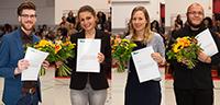 Bastian Lasse, Nathalie Krebs, Nora Kim und Atahualpla Garcia Ibarra wurden für ihre Abschlussarbeiten ausgezeichnet. Foto: Universität Bielefeld/S.Sättle