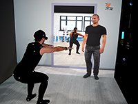A virtual coach, which is part of the new coaching system, instructs a user how to do a squat. Foto: CITEC/Universität Bielefeld
