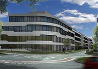 Das Innovationszentrum entsteht an der Ecke Voltmannstraße / Morgenbreede. Visualisierung: Bielefelder Gemeinnützige Wohnungsgesellschaft mbH