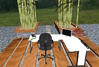 Durch das neue System haben Nutzer den Eindruck, sich in einer virtuellen Umgebung zu befinden. In einem computeranimierten Büro können sie ihre elektronischen Dokumente sortieren und ablegen. Foto: CITEC/Universität Bielefeld