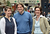 Koordinieren das ExSIDE Projekt, das die Europäische Kommission mit 3,8 Millionen Euro fördert: Diana Grieswald, Professor Dr. Herbert Dawid, Dr. Ulrike Haake (v.l.). Foto: Universität Bielefeld