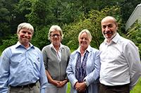 Dr. Gottfried Strobl, Dr. Andrea Frank (richtig einsteigen), Karin Riedemann Hall (ehemalige Rektorin und jetzt Mitglied des Vorstandes der UCINF) und Juan Pablo Prieto (Rektor der UVM) präsentierten im ZiF die Ergebnisse der vierjährigen Kooperation (v.l.). Foto: Universität Bielefeld