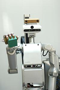 Floka hat einen Sensorkopf. Seine Kamera-Augen beherrschen Farb-und Tiefenwahrneh-mung, so dass er Hindernisse sehen kann. Foto: CITEC/Universität Bielefeld