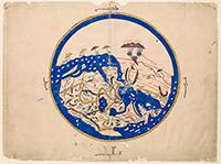 Das Bildmotiv des Konferenzplakats, eine Weltkarte aus dem 12. Jahrhundert, die nach Süden ausgerichtet ist. Der Mittlere Osten liegt in der Mitte der Weltkarte, Westeuropa am rechten unteren Kartenende. Foto: University of Oxford