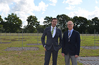 Professor Dr. Marcus Brüggen (left) and Professor Dr. Dominik Schwarz are in charge of the Norderstedt antenna field of the LOFAR radio telescope. Photo: Bielefeld University