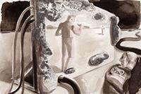 """Die Ausstellung """"Ich digi du"""" fragt nach dem Verhältnis von Mensch und Maschine. In Antje Löbels Illustrationen geht es um die Macht des Menschen über die Maschine und seine gleich-zeitige Abhängigkeit von der Technik. Bild: Antje Löbel"""
