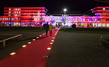 Illuminated path to Building X