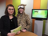 Moderatorin Laura Mühlenmeier hatte bei der Aufzeichnung einen Kater (zweiter von links)… Foto: V. Maiwald - Campus TV