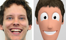 A happy face on the left, a happy comic-figure on the right