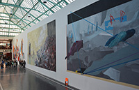 Von der Bauwand zur Leinwand: Beim ersten Graffitifestival 2015 entstanden auf der neun Meter hohen Wand drei großformatige Kunstwerke.