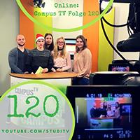 Die studentische Redaktion von Campus TV bei der Aufzeichnung der Dezember-Ausgabe. Foto: Campus TV / J. Groll