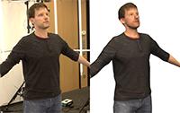 Um das neue Verfahren zu testen, ließ sich der Doktorand Jascha Achenbach gleichzeitig von 40 Kameras fotografieren (links). Zehn Minuten später war die virtuelle Version des Forschers fertig (rechts). Foto: CITEC/Universität Bielefeld
