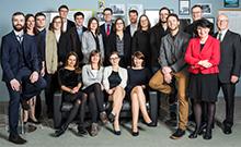 Die Preisträgerinnen und Preisträger der Dissertationspreise 2017 gemeinsam mit Prof. Dr. Martin Egelhaaf (Prorektor für Forschung, wissenschaftlichen Nachwuchs und Gleichstellung, 3.v.r.), Maria Unger (Kuratorium UGBi, 2.v.r.) und Jürgen Heinrich (Geschäftsführer UGBi, 1.v.r.).