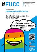 Plakate, Webseite und Infostände – online und offline macht die Projektgruppe auf den Ideenwettbewerb aufmerksam.