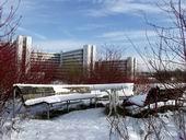 Universitätsgebäude im Schnee