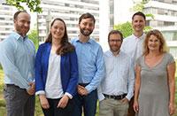 Das Projektteam: Dr. Christoph Karlheim, Sarah Palmdorf, Tristan Müskens, Dr. Stefan Kreisel, Dr. Christoph Dockweiler und Prof.'in Dr. Claudia Hornberg (v.l.)