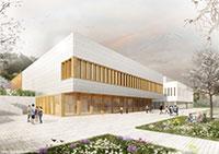 Das neue Hörsaalgebäude der Universität Bielefeld wird südlich des Hauptgebäudes errichtet. Visualisierung: Behet Bondzio Lin Architekten