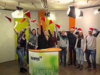 Die Campus TV Redaktion feiert ihre 127. Sendung. Foto: Campus TV