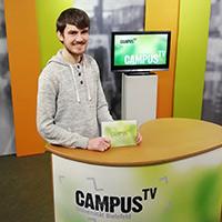 Die 128. Ausgabe des Campus TV Magazins wird moderiert von Ruben Honermeyer.Foto: M. Schynoll/Campus TV