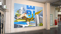 Eine bleibende Erinnerung an das Uni.Stadt.Fest und den 50. Geburtstag der Univer-sität hängt jetzt in der Universitätshalle. Foto: Universität Bielefeld