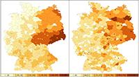 Die neue Studie zeigt den Zusammenhang zwischen dem AfD-Wahlerfolg bei der Bundestagswahl 2017 (links) und Übergriffen gegen Geflüchtete (rechts) im selben Jahr. Grafik: Universität Bielefeld / J. Rees