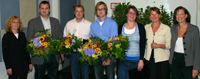 Preisträger und Betreuer (v.l.): Prof. Dr. Doris Schaeffer, Dr. Jacob Spallek, Gunnar Geuter , Torben Vahle, Iris Pape, Prof. Dr. Claudia Hornberg und Anja Schmidtpott (Referentin des Vorstandes der AOK NordWest).