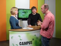 Moderatorin Kerstin Sellerberg, Studiogast Michael Schoofs und Seminarleiter Jörg Erber