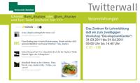 """Tweets, die an """"@uni_displays"""" oder """"#uni_displays"""" gesendet werden, erscheinen auf der neuen Twitter-Wall."""