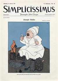 """Gewalt kann auch symbolische Formen annehmen, wenn sie beispielsweise eine Religion verspottet. Hier den Katholizismus in der historischen Satirezeitschrift Simplicissimus vom 24. Februar 1908: """"Stumpfe Waffen: Ich mag aber nicht mehr Papst spielen, wenn ich niemand weh tun kann!"""""""