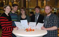 Preisträger der Science Fair (v.l.): Annika Peters, Hergen Köhler, Claudia Göbel, Michael Müller und Johannes Greiner.