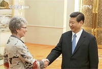 Prof. Dr. Katharina Kohse-Höinghaus from Bielefeld University being greeted by Xi Jinping, the designated President of the People's Republic of China. The Chinese national broadcaster CCTV reported on the reception of international experts in its news programme.