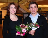 Olga Velgosha und Sulkhan Abashidze erhielten den Preis des Vereins zur Förderung internationaler Studierender.