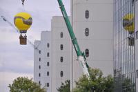 Die Fahrt mit dem Kranballon ermöglicht einen Blick über den neuen Campus Bielefeld.Foto: Andreas Frücht