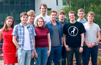 The iGEM team from Bielefeld University, 2013: Nadiya Romanova, Tom Tubbesing, Fabian Thomas, Tore Bleckwehl, Matthias Ruwe (left to right, back row); Manuel Schüler, Anna Korszańska, Lukas Rositzka, Thorben Meyer, Sebastian Grenz (left to right, front). Photo: iGEM team 2013