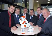 Prof. Dr. Helge Ritter, Hans-Jürgen Simm, Thomas May, Prof. Dr.-Ing. Gerhard Sagerer, Helmut Dockter und Pit Clausen (v.l.).