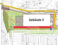 Der Radweg zwischen Universitätshauptgebäude und Gebäude X ist derzeit gesperrt. Eine Umleitung ist eingerichtet.