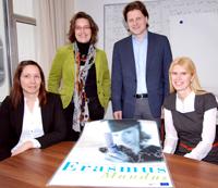 Das Team der EDEEM Koordination: Diana Grieswald, Dr. Ulrike Haake, Professor Dr. Herbert Dawid und Juniorprofessorin Dr. Anna Zaharieva. Foto: Universität Bielefeld