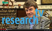 research_tv steht für hintergründige und professionell produzierte Forschungsfilme der Universität Bielefeld. Foto: Universität Bielefeld