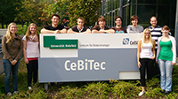 The team members are (left to right): Janina Tiemann, Sandra Brosda, David Wollborn, Boas Pucker, Tore Bleckwehl, Simon Riedl, Sebastian Blunk, Annika Fust, Julian Droste and Birte Hollmann. Photo: iGEM Bielefeld-CeBiTec