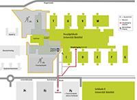 Die Karte zeigt den neuen Weg zum Haupteingang (interim) und die Parkplatzalternativen.