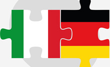 The Italian and the German flag as puzzle.