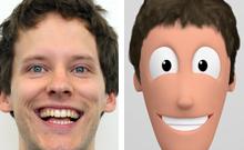 Lachendes Gesicht auf der linken, lachende Comic-Figur auf der rechten Seite Copyright: CITEC/Universität Bielefeld