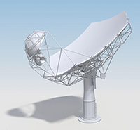 A model of the SKA-MPG telescope. Photo: MPIfR/A. Basu et al.