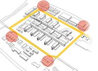Ein um das Hauptgebäude laufender Ring (Loop) soll verschiedene Flächen miteinander verbinden und perspektivisch weitgehend autofrei sein. Visua-lisierung: AS+P Albert Speer + Partner
