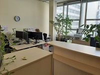 Melanie Albrecht, Sachbearbeiterin in der Telefonzentrale des Studierendesekretariats, teilt sich ihr Büro momentan nur mit Pflanzen.
