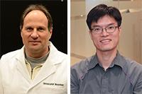 Der Physiker Prof. Dr. Thomas Huser (li.) und der Informatiker Prof. Dr. Kenneth K.Y. Wong leiteten das Projekt, in dem das Mikroskop entwickelt wurde. Fotos: Universität Bielefeld/Universität Hongkong